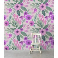 Removable wallpaper Floral Pink and Purple Watercolor Flowers Pattern Decor