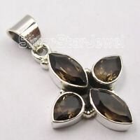 Facetted Smoky Quartz Pendant Ladies Gemstone Jewelry Solid Sterling Silver