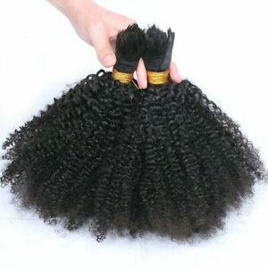 Afro Kinky Curly Human Hair Bulk For Braiding Mongolian Bulk Hair Extension 1Pcs