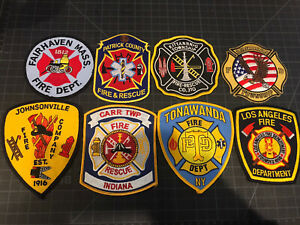Lot Of 8 Fire Department / Fire Rescue (FD) Patches