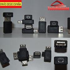 Convertidor Adaptador conector clavija de Mini USB hembra a USB 2.0 hembra. ESPA