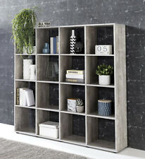 Wilmes: Raumteiler mit 16 Fächer - Bücherregal Standregal Regal - Betonoptik