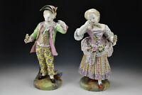 Large 19th Century Meissen Porcelain Mourning Boy & Girl Statues / Figurines