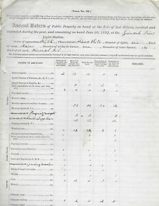 Lighthouse Keeper Documents Maine 1883 & 1870 Reports of Returning Supplies