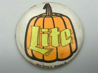 "Vtg Halloween Pumpkin Miller Lite 3-1/2"" Button Pin Pinback Beer Advertising R3"