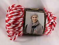 Lion Brand Hometown USA Yarn Razorbacks Super Bulky Knit Crochet Red White Twist