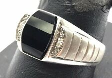 Men's Sterling Silver Black Onyx / Diamond Ridged Brushed Bezel Band Ring 10.75