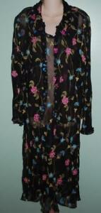 Carole Little Black 100%Silk Dress & Jacket Flowers Gold Sheer 14 16 NWT