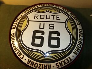 Vintage Route 66  Light Up Tin Button Large Sign