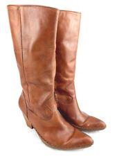 "Frye Phoenix Moccasin 11"" Boots Women Sz 8M Zip Side 3"" Heel Brown Leather 123-5"
