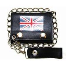 Biker/ Trucker Leather British Flag Trifold Chain Wallet