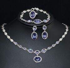 V442  VF Austria Crystal Purple CZ Earrings Bracelet Necklace Set Ring Size 7