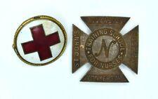 Antique St. Johns Riverside Hospital Yonkers NY Nursing School Pin & Red Cross