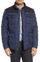 $250 Cole Haan Men's Mixed Media Quilted Jacket Coat Axis Peak Summit  Navy