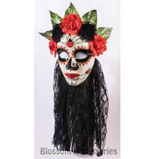 A982 Day Of Dead Mask Black Veil Senorita Mexican Halloween Costume Accessory