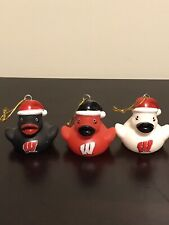 Wisconsin Chistmas Ornaments Set Of Three Sm. Rubber Duckies