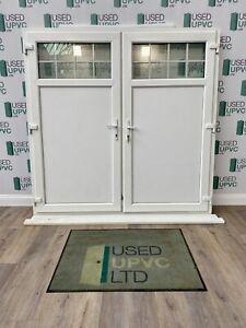 REHAU-SIDE HUNG-GARAGE DOOR-FRENCH DOORS-WHITE UPVC-DISTORTED GLASS-USED