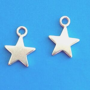 Sterling Silver Star Charms 8mm Flat Star Pendants 5PC 20PC