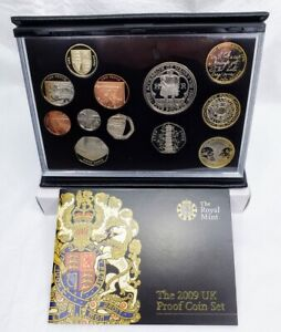 Royal Mint 2009 Proof UK Coin Set with RARE Kew Gardens 50p Coin