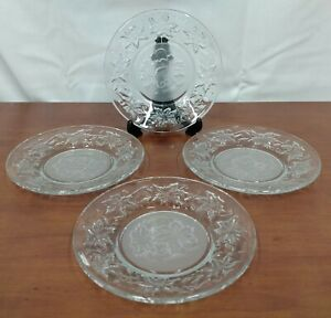 """Princess House FANTASIA Elegant Glass Frosted Centr 6 1/8"""" BREAD PLATES Set of 4"""