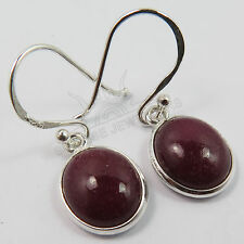 925 Solid Sterling Silver Dyed RUBY Gemstones Handmade Fashion Jewelry Earrings