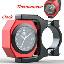 2in1 Motorcycle Bar Watch Pointer Clock Thermometer Luminous Temp Time Monitor