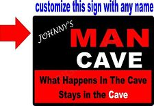 """PERSONALIZED MAN CAVE SIGN -ANY NAME  9"""" x 12"""" SIGN - gift, FUNNY SIGN,  decor"""