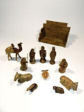 Vintage Hand Carved Olive Wood Nativity Set