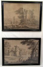 "Two 1700's Large Ink & Wash Romantic Italianate Landscapes, 25"" x 18"""