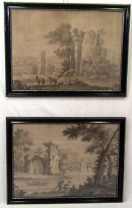 """Pair of Classic 1700's Large Ink & Wash Romantic Italianate Landscapes 25"""" x 18"""""""