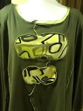 Jean Marc Philippe (Made In France) Tunic/Top Plus Size 20 Green/Yellow Color