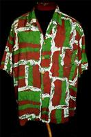 UNUSUAL RARE COLLECTIBLE QUALITY 1940'S-1950'S SILKY RAYON HAWAIIAN SHIRT XL