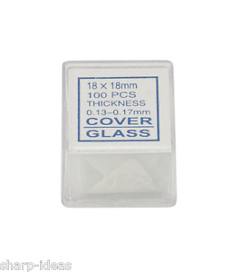 100 Quality Professional Glass Microscope Cover Slips 18x18mm - Optically Clear