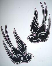 2 black white sparrow swallow iron on patch rockabilly tattoo bird - 25