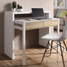 Mesa consola escritorio extensible blanco brillo y roble canadian para estudio