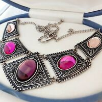 Vintage Tribal Style Large Statement Pink Purple Glass Cabochon Bib Necklace #1