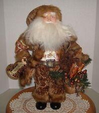 "Old World Santa  Faux Fur, Brocade,Velvet,Gold Figure 18"" Tall"