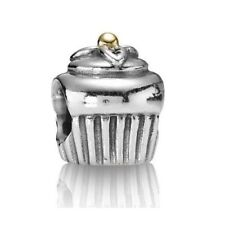 Authentic Pandora Sterling 925 ALE, 14KGold Accent  CUPCAKE CHARM,EXC.CONDITION