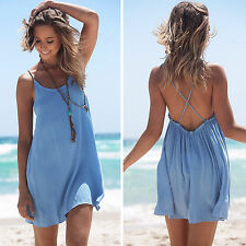 5d6830f773f7b Womens Boho Beach Wear Bikini Cover Up Summer Mini Dress Tunic Long Shirt  Tops