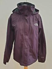 L306 WOMENS THE NORTH FACE HYVENT PURPLE LIGHTWEIGHT HIKING HOODED JACKET UK L