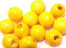 20 Large Yellow Round Natural Wood Beads 15x16 mm Bead Bracelet/Jewelry Making