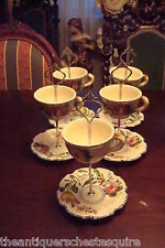 Handmade 5 Cake Stands w/ Italian Ceramic Majolica Style, cup and saucers, 2tier