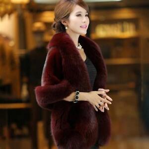 Women Ladies Faux Fur Trim Hooded Poncho Wrap Cape Shawl Cardigan Warm Coat C