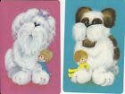 Vintage Swap/Playing Cards - 2 SINGLE - FLUFFY DOGS WITH CUTE KIDS - HALLMARKS