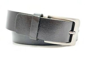 "BLACK FULL GRAIN Buffalo Leather Mens 1.5"" Belt Strap Buckle Casual Jeans"