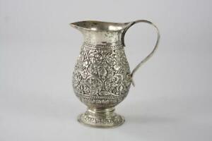 19th Century 800 SILVER THABEIK REPOUSSE MILK JAR 130.5 gram