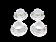 Style House Fine China Mayfair Platinum Trim Dishes Tea Cups & Saucers Lot of 4