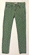 BCBG Jeans Size 27 Dark Green Half Circle Pattern 99% Cotton 1% Spandex