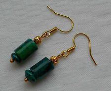 Unique lovely handmade green chrysocolla gold plated earrings + free stoppers