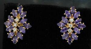 14K gold beautiful 5.10CTW diamond & Marquise amethyst cluster flower earrings
